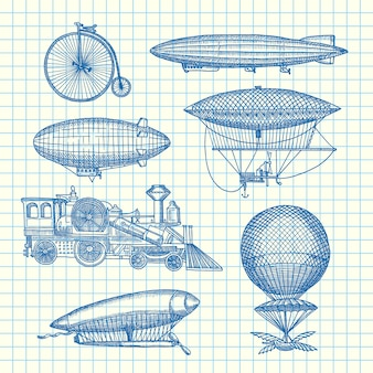 Set of steampunk hand drawn dirigibles, bicycles and cars on cell sheet illustration. dirigible transport and air balloon vintage