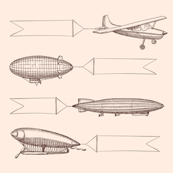Set of steampunk hand drawn vintage dirigibles and air baloons with hanging wide ribbons for text. airplane transport with banner, aircraft dirigible or zeppelin illustration