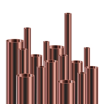 Set of steel or aluminum pipes, .  illustration. glossy  tubes of different diameters.
