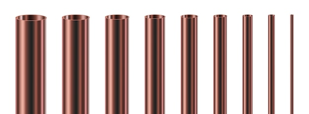 Set of steel or copper pipes, isolated.  glossy tubes of different diameters.