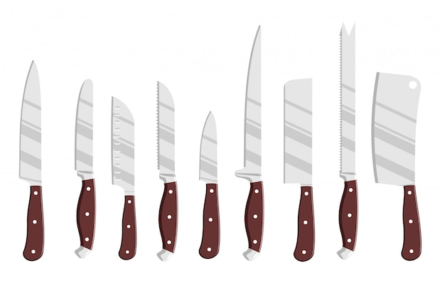 Set of steel kitchen knives.  chef cook drawing knife set, butcher knifes tools