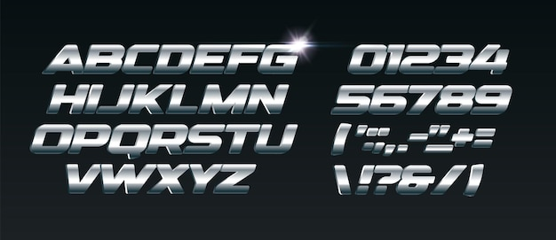 Set of steel letters font for dynamic compositions like sports events and promotions or logos