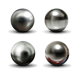 Set of steel or silver balls with shadows from below
