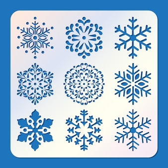 Set of stencil of snowflakes