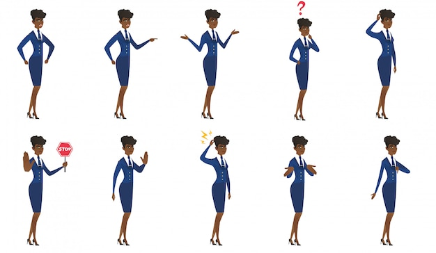 Set of stewardess characters.