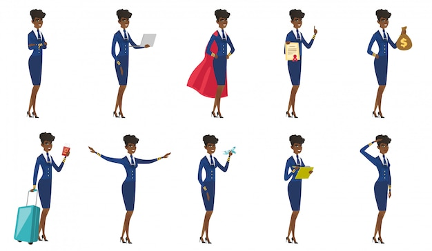 Set of stewardess characters.