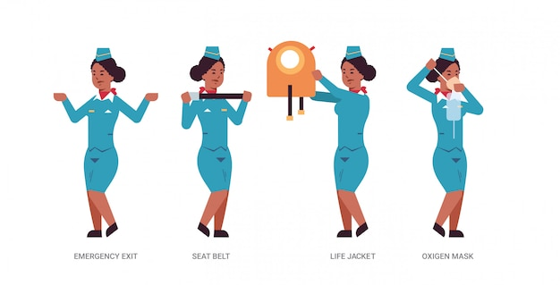 Set stewardess explaining instructions with life vest seat belt emergency exit and oxygen mask african american flight attendant in uniform safety demonstration concept horizontal full length