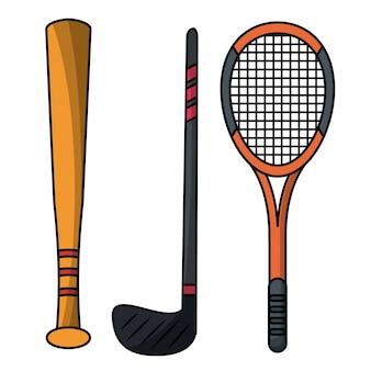 Set stick bat racket sport equipment