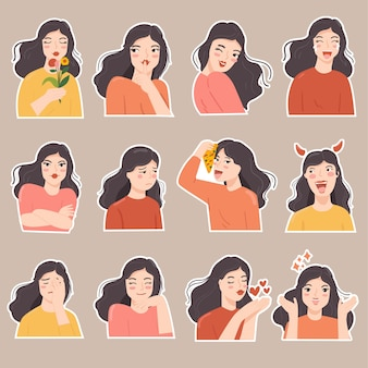 Set of  sticker cute woman in various expression