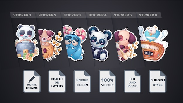 Set sticker  dog puppy panda diplomat pumpkin monster