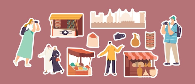 Set of stickers arab market theme. tourists with camera, local people in arabic dress, travelers vendor offer spices, rugs and pottery at stall, cityscape architecture. cartoon vector illustration