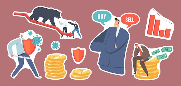 Set of stickers bear market at covid-19 pandemic, stock panic sell due to novel coronavirus. business investor charactes fighting with cells, bear on decline arrow. cartoon people vector illustration