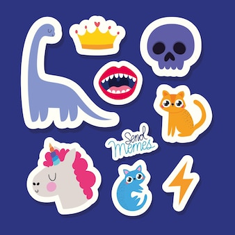Set of stickers over blue background