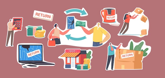 Set of stickers broken goods return and exchange. characters dissatisfied with damaged things delivery, cracked laptop, cup and smartphone, courier drop parcel. cartoon people vector illustration