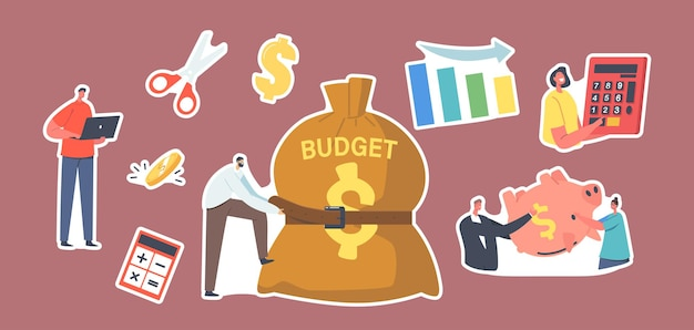 Set of stickers budget deficit theme. tiny businessman character tight huge sack with belt. man and woman with empty piggy bank. decrease chart, calculator, economy crisis. cartoon vector illustration