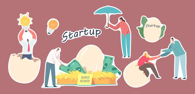 Set of stickers business startup incubator theme, businesspeople characters with eggs, idea light bulb and birds nest with dollar banknotes. start up project grow. cartoon people vector illustration