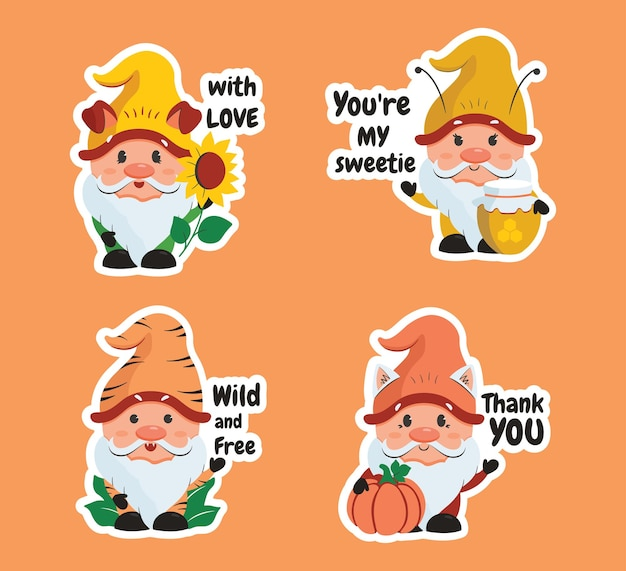 The set of stickers cartoonish gnomes with text the pumpkin sunflower honey and popular quotes