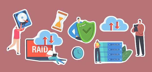 Set of stickers characters in data center, laptop with raid, redundant array of independent disks storage, backup. modern technologies and hosting servers, cloud system. cartoon vector illustration