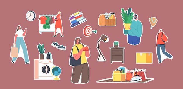 Set of stickers characters visiting flea market, antique things shopping. garage sale, retro bazaar with old stuff, buyers purchase clothes, books and furniture. cartoon people vector illustration