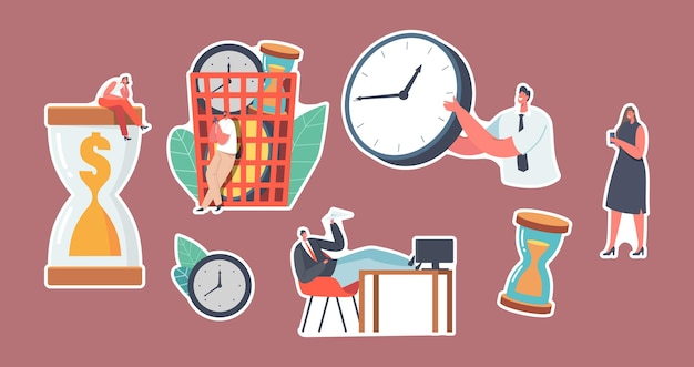Set of stickers characters wasting time and money concept. procrastinating businesspeople, employee sitting at workplace with legs on office desk postponing work. cartoon people vector illustration
