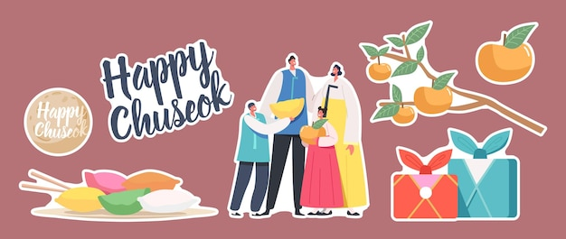Set of stickers chuseok tteok korean tradition theme. characters wearing traditional costumes hanbok, songpyeon rice cakes and persimmon fruits on tree branch, moon. cartoon people vector illustration