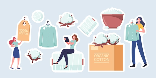 Set of stickers cotton theme. tiny female character sitting on huge thread spool, fluffy white flower, bowl with organic fiber, tag for clothes and shirt on hanger. cartoon people vector illustration