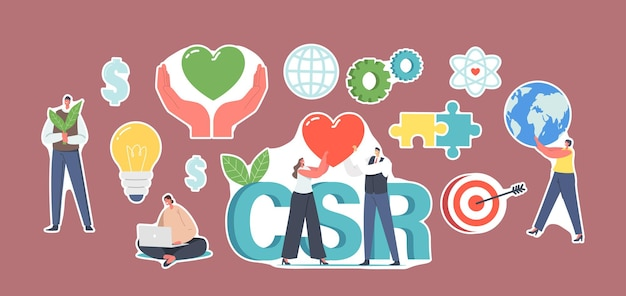Set of stickers csr, corporate social responsibility. characters with green plants, heart and earth globe. ethical business for sustainable rights organization. cartoon people vector illustration