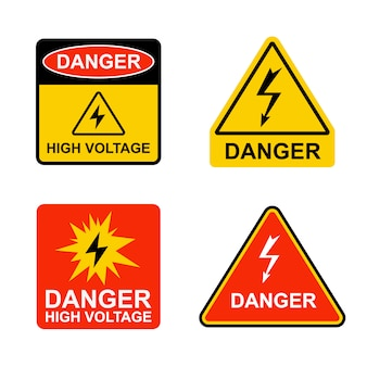 Set of stickers dangerously high voltage