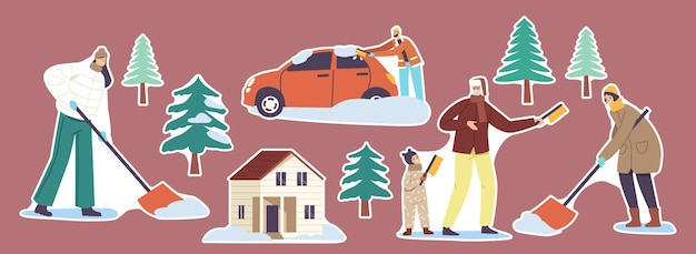 Set of stickers family parents and kids shoveling snow, house front yard with snowdrifts, people with shovels and brushes, cleaning road and car after snowfall at winter. cartoon vector illustration