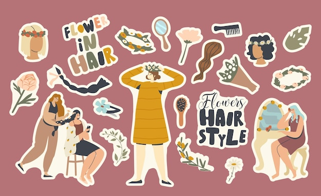 Set of stickers flowers hairstyle theme. woman in wreath, curl and comb with blossoms bouquet and mirror with barrette. summer season hairdo, braid and girls in salon. cartoon vector illustration