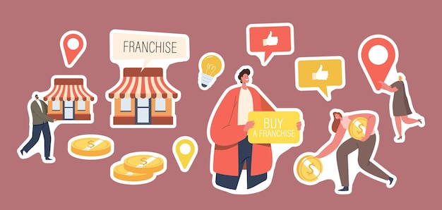 Set of stickers franchise theme. character with banner buy franchise, vendor kiosk and gold coins, woman with navigation pin, glowing light bulb, thumb up icon. cartoon people vector illustration
