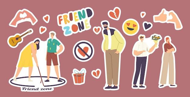Set of stickers friend zone theme. man and woman in circle, broken heart, guitar and hand gestures, wrapped gift, smile emoji fall in love. friendzone isolated elenemts. cartoon vector illustration