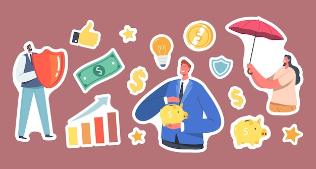 Set of stickers fund safety theme, businesspeople characters with umbrella, piggy bank and shield