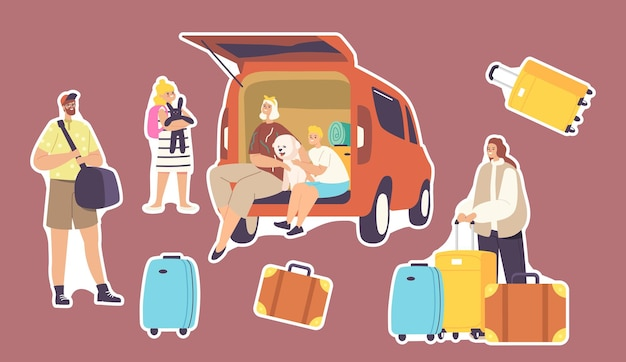 Set of stickers happy family characters sitting at car trunk with dog ready for travel. mother, father and children with luggage leaving home for road journey. cartoon people vector illustration