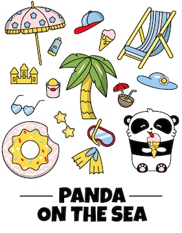 Set stickers icon cute panda summer holiday
