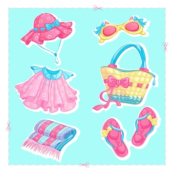 Set of stickers icons of summer beach accessories.