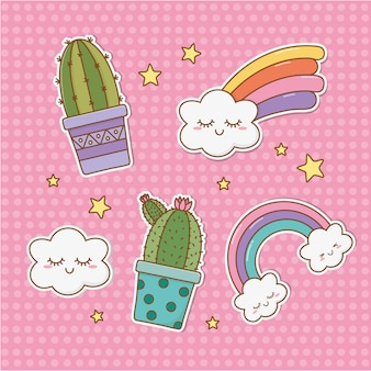 Set of stickers kawaii
