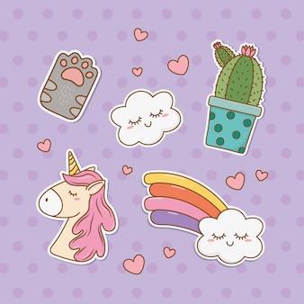 Set of stickers kawaii