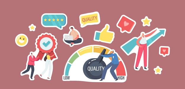 Set of stickers level quality improvement theme. , businessman pull huge lever arm, satisfied customers top evaluation rate. arrow and thumb up. efficiency, success. cartoon people vector illustration