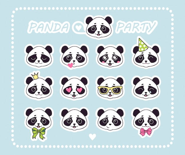 Set stickers little panda bear with different emotions.