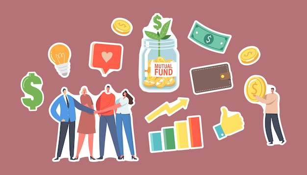 Set of stickers mutual fund. office colleagues characters join hands, tiny businessman with gold coin, glass jar with green sprout, light bulb, dollar, finance help. cartoon people vector illustration