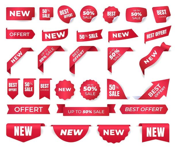 Set of stickers for new brands, new labels, advertising banners. sticker templates