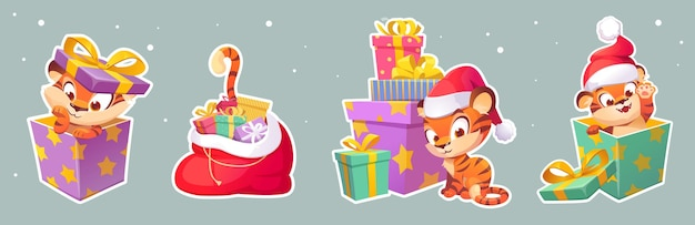 Set of stickers new year tiger in santa hat