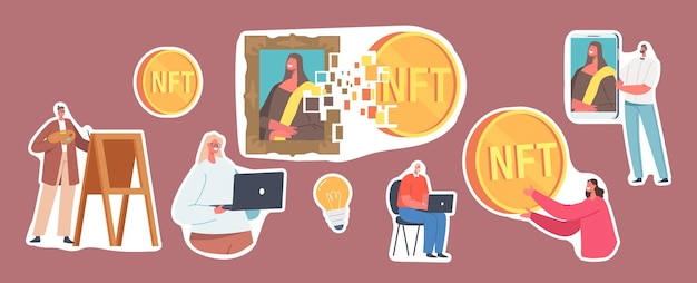 Set of stickers non fungible token theme, characters use nft digital transaction for buying masterpieces and antiquities in cyber space, futuristic technologies. cartoon people vector illustration