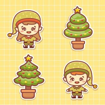 Набор наклеек рождественского персонажа счастливых эльфов. симпатичные помощники санта-клауса и рождественская елка. каваи стиль