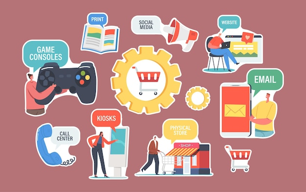Set of stickers omnichannel theme. several communication channels between seller and customer. digital marketing, online shopping. e-mail, social media, call center, print. cartoon vector illustration