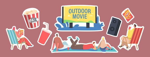 Set of stickers outdoor movie, open air cinema theme. characters sitting on ground front of big screen watching film, pop corn bucket, soda drink cup, dynamics. cartoon people vector illustration
