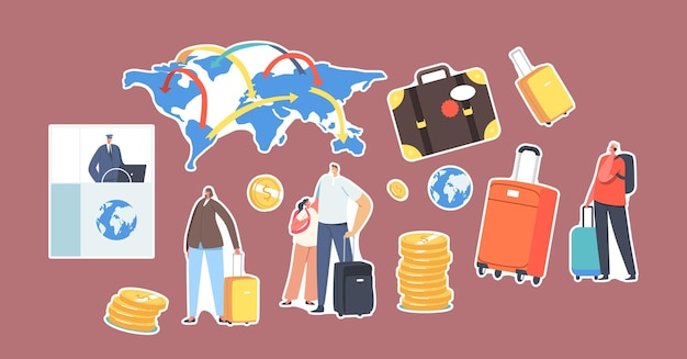 Set of stickers passport control worker at desk, tourists with luggage, world map, suitcase and gold coins. characters world immigration, legal migration concept. cartoon people vector illustration