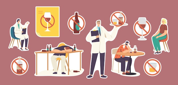 Set of stickers people with alcohol addiction. characters having pernicious habits addictions and substance abuse, drunk men and women sleeping, narcologist doctor. cartoon vector illustration