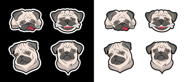 Set of stickers of pugs